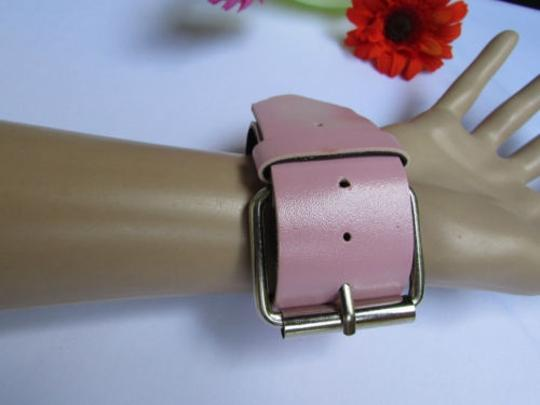 Other Women Wide Bracelet Pink Color Faux Leather Biker Motorcycle Silver Buckle Rock