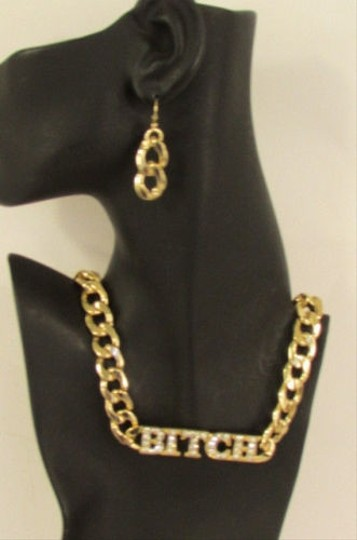 Other Women Gold Metal Chain Fashion Necklace Bitch Pendant Rhinestones Earrings