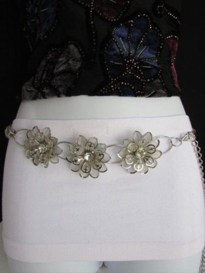 Other Women Waist Silver Chains Big Flower Hip Mesh Metal Fashion Thin Belt S-xl
