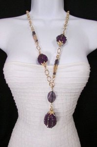 Women 18 Long Gold Chains Fashion Necklace Purple Flower Egg Beads Earring