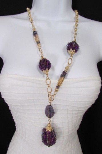Other Women Long Gold Chains Necklace Purple Flower Egg Beads Earring