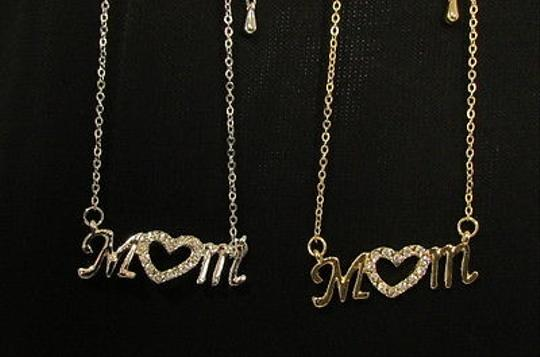 Other Women Necklace Heart Love Mom Mother Day Rhinestones Gold Silver