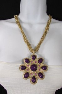 Other Women Long Gold Chains Fashion Necklace Big Purple Flower Pendant Earrings