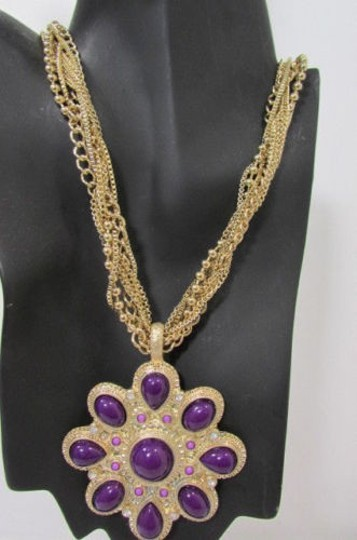 Other Women Long Gold Chains Necklace Big Purple Flower Pendant Earrings