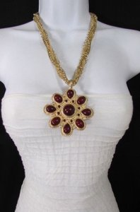 Other Women Long Gold Chains Fashion Necklace Big D. Red Flower Pendant Earrings
