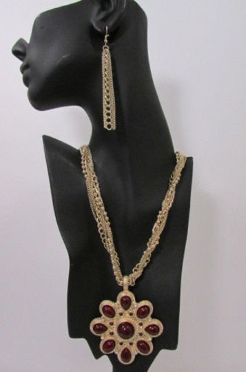 Other Women Chains Fashion Necklace Big D. Red Flower Pendant Earrings