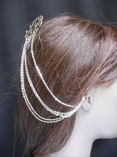Other Women Silver Chains Cuff Earring Hair Pin Connected Headband Hair Claws