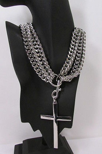 Other Women Silver Metal Chunky Chains Strands Fashion Necklace