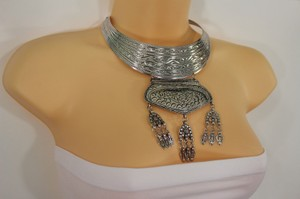 Other Women Silver Metal Fringe Vintage Necklace Choker Earring