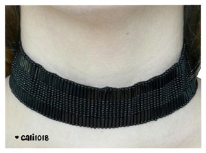 New Handmade Beaded Black Choker/Necklace/Bib