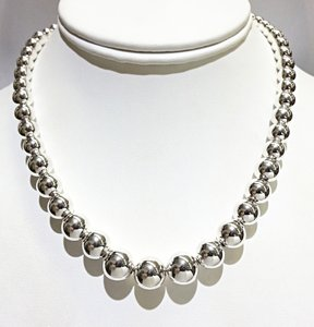 Tiffany & Co. Tiffany & Co. Sterling Silver Graduated Bead Necklace 16
