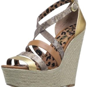 Jessica Simpson Gold, Taupe & Brown Wedges