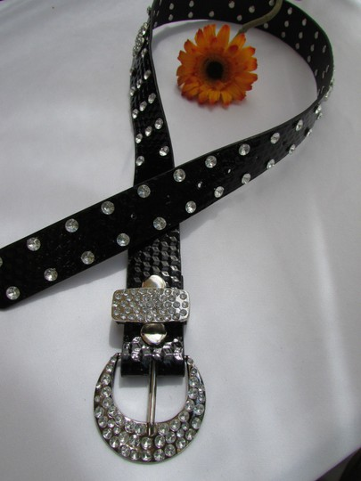 Other A Women Faux Leather Western Black Belt Big Bow Silver Beads Buckle 32-37