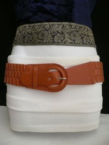 Other Women Hip Elastic Faux Leather Orange Fashion Belt Round Buckle 27-34
