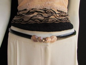 Other Women High Waist Hip Black Thin 80s Fashion Belt Gold Seashells 22-40