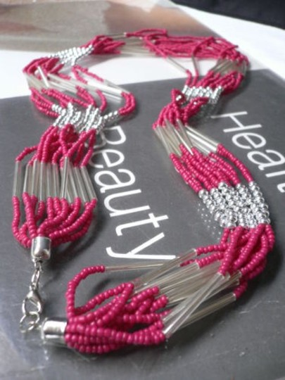 Other Women Pink Red Silver Necklace Beads Multi Chains Fashion Safari Accessory