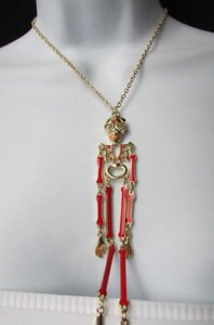 Other Women Necklace Silver Gold Skeleton Body 13 Long Chains Halloween Style