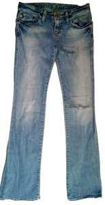 Big Star Size 25 Casey Style Low Rise Light Wash Factory Distress P1208 Boot Cut Jeans-Light Wash
