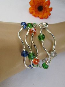 Other N Women Silver Green Blue Orange Beads Fashion Jewelry Bangle Strands Bracelet