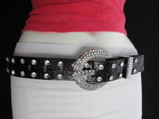 Other A Women Faux Leather Western Black Belt Big Hearts Silver Beads Buckle 29-34