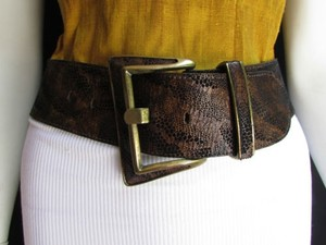 Other Women Rusty Brown Black Genuine Leather Fashion Belt Big Gold Buckle 24-28
