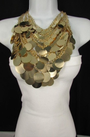 Preload https://item4.tradesy.com/images/a-women-fashion-bib-necklace-earring-set-gold-metal-multi-disc-circles-strands-1928573-0-0.jpg?width=440&height=440