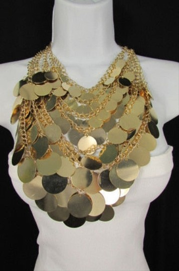 Other A Women Fashion Bib Necklace Earring Set Gold Metal Multi Disc Circles Strands