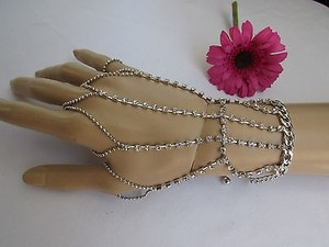 Women Silver Hand Chain Bracelet Slave Ring Rhinestones Long Strands Finger