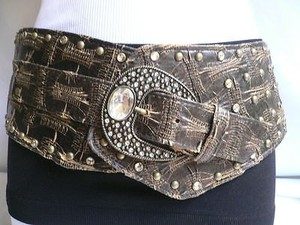 Other Women Mocha Brown Faux Leather Wide Western Fashion Belt Big Buckle