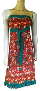 Plenty by Tracy Reese short dress Red and Green Silk Floral Strapless on Tradesy