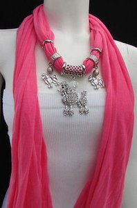 Fashion Women Pink Scarf Soft Fabric Necklace Rhinestones Poodle Dog Pendant