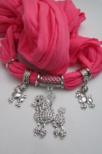 Other Women Pink Scarf Soft Fabric Necklace Rhinestones Poodle Dog
