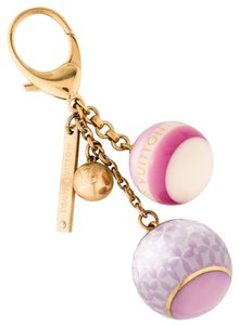 Louis Vuitton Gold-tone Louis Vuitton Mini Lin Croisette keychain bag charm
