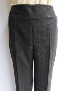 Akris Women Winter Wool Brown Angora Stripes Classic Trousers 29 Pants