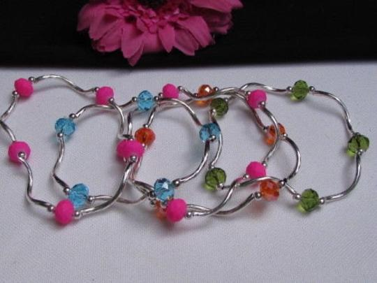 Other N. Women Green Orange Hot Pink Blue Beads Fashion Jewelry Five Bangles Bracelets