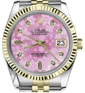 Rolex Women`s Rolex 26mm Datejust2Tone Pink Flower MOP Dial with 8+2 Diamond