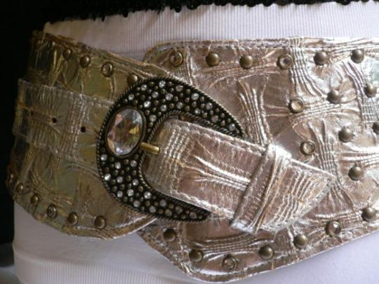 Other Women Silver Faux Leather Wide Western Fashion Belt Big Beads Buckle