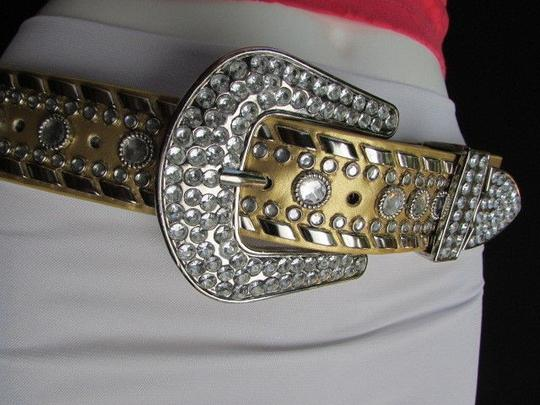 Other A Women Gold Faux Leather Western Belt Silver Rhinestones Buckle 32-37