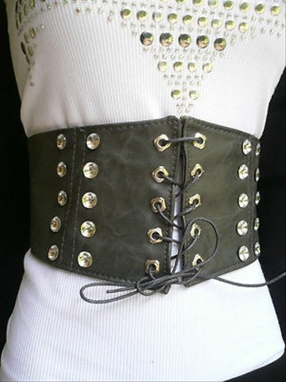 Other N Women Corset High Tie Wide Gray Waist Hip White Rhinestones Stretch Material