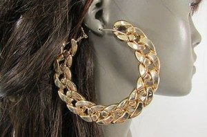 Other Women Thick Gold Metal Chunky Chains 3 Hoop Big Fashion Earrings Set