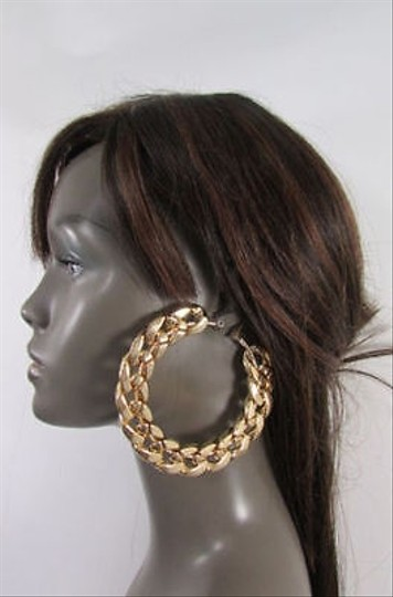 Other Women Thick Gold Metal Chunky Chains 3 Hoop Big Earrings Set