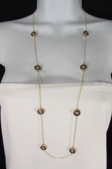 Other Women Long Necklace Gold Metal Chains Classic Circles Pendant