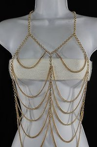 Women Front Gold Body Metal Chain Tank Top Long Necklace Fashion Jewelry