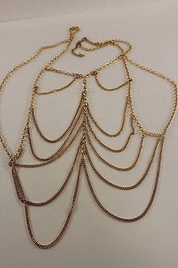 Other Women Front Gold Body Metal Chain Tank Top Long Jewelry