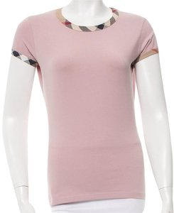 Burberry Nova Check Monogram Cotton T Shirt Beige, Pink