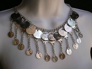 Other Women Silver Metal Coins Fashion Necklace 10 Drop Moroccan Stylish Earring