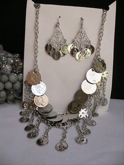 Other Women Silver Metal Coins Necklace 10 Drop Moroccan Stylish Earring