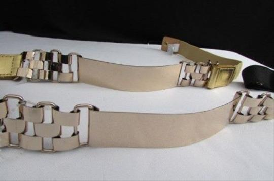 Other Women Gold Metal Links Plate Fashion Hip Waist Fashion Belt Black S-m Gold M-l