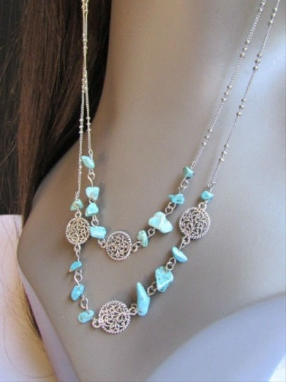 Other Women Long Connect Silver Coins Chains Fashion Earrings Blue Stones Necklace