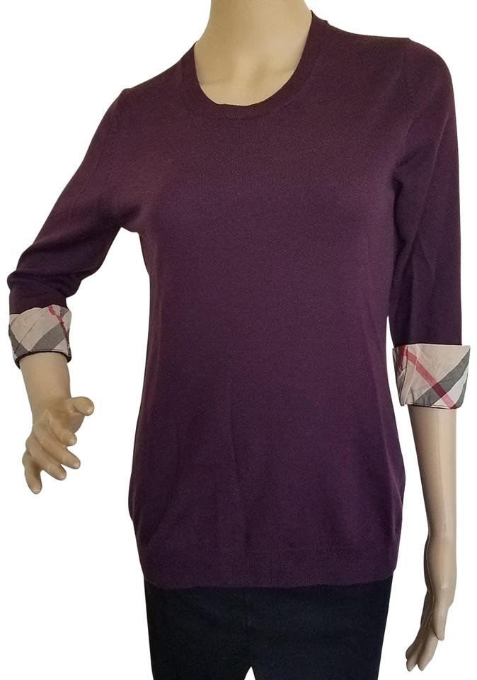 f3d9042cbd33aa Burberry Nova Check Plaid Monogram Cotton Longsleeve Top Purple, Beige,  Black Image 0 ...